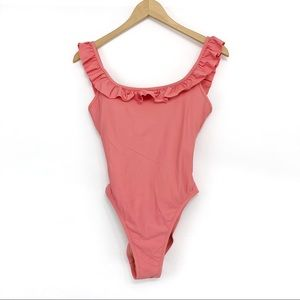 J. CREW Ruffled Scoop Back Swimsuit Pink 4